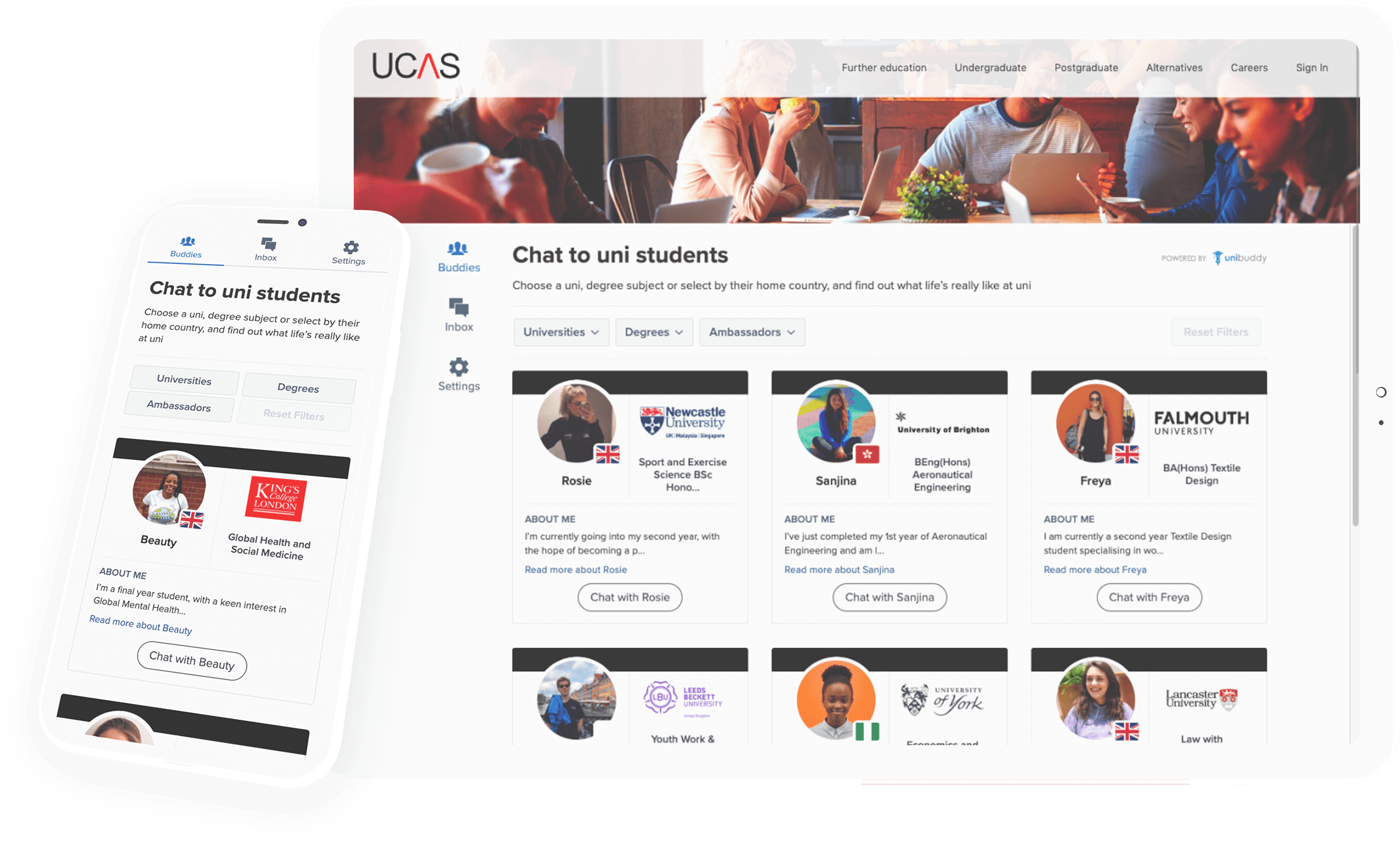 Unibuddy on UCAS (tablet and mobile)